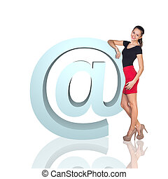 grand, icône, affaires femme, e-mail