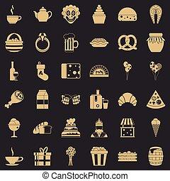 grand, icônes, ensemble, style, simple, générosité