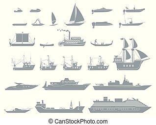grand, icônes, pictogramme, collection, stylisé, géométriquement, bateaux, watercrafts., représenter, vessels.