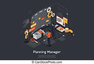 grand, illustration, groupe, écran, concept., devant, business., planification, leur, vecteur, gens, directeur, isométrique