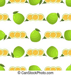 grand, illustration, pomelo, coloré, thème, seamless