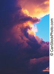 grand, image, haut, coucher soleil, orage, fin, nuage