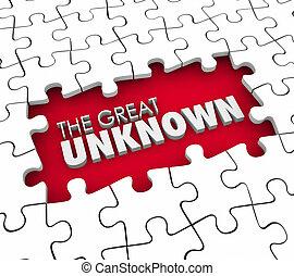 grand, inconnu, morceaux puzzle, exploration, uncharted, trou, adven