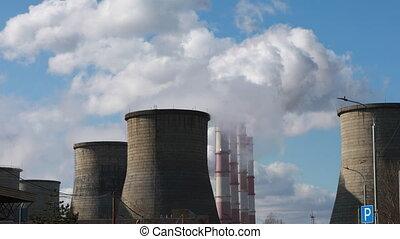 grand, industriel, zone, cheminées