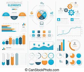 grand, infographic, vecteur, éléments, ensemble