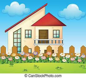 grand, intérieur, barrière, maison