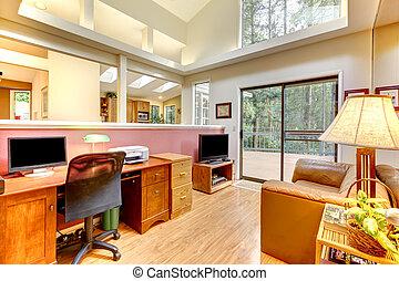 grand, intérieur, windows., bureau, maison