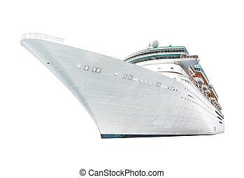 grand, isolé, fond, bateau croisière, blanc