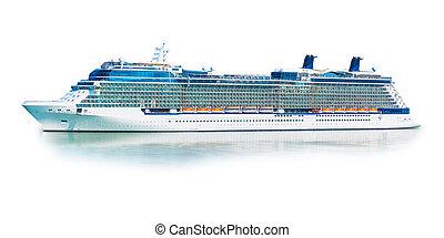 grand, isolé, paquebot, fond, croisière, ferry-boat, bateau, blanc