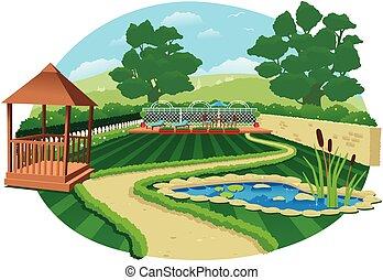 grand, jardin pays, étang