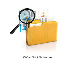 grand, jaune, illustration:, verre., fichier, conclusion, dossier, magnifier, 3d
