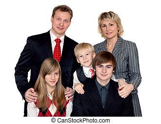 grand, joyeux, portrait famille