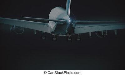 grand, jumbojet, atterrissage, nuit