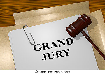 3D illustration of 'GRAND JURY' title on legal document