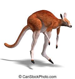 grand, kangourou, rouges