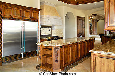 grand kitchen - large kitchen with stainless appliances