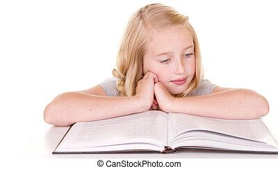 grand, lecture fille, livre