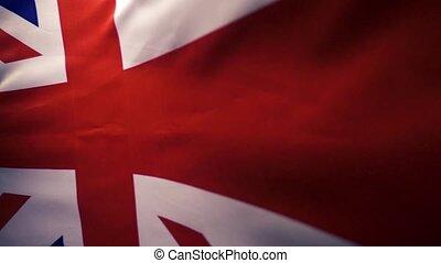 grand, lent, flottements, mouvement, drapeau, grande-bretagne