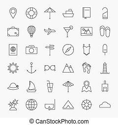 grand, ligne, ensemble, icônes voyage