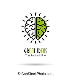 grand, linéaire, -, idées, cerveau, icône