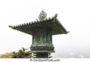 grand, lin, tian, bouddha, monastère, bronzage, po