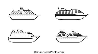 grand, liner., océanique, côté, ensemble, bateau passager, ships., océan, croisière, vue.