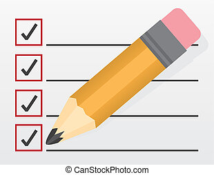 grand, liste contrôle, crayon