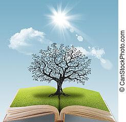 grand livre, arbre, ouvert