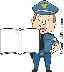 grand livre, police, illustration, homme