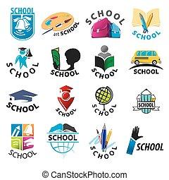 grand, logos, école, ensemble, vecteur