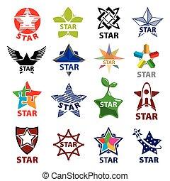 grand, logos, ensemble, étoile, vecteur
