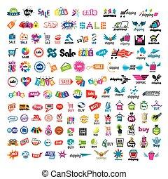 grand, logos, ensemble, achats, vecteur