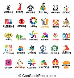 grand, logos, ensemble, habillement, vecteur