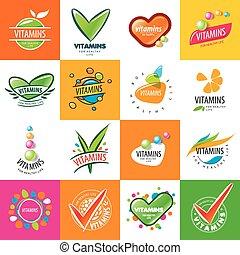 grand, logos, ensemble, vitamines, vecteur