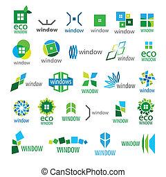 grand, logos, fenêtre, vecteur, collection