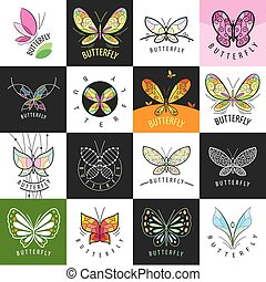 grand, logos, papillons, ensemble, vecteur