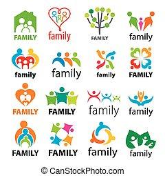 grand, logos, vecteur, collection, famille
