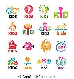 grand, logos, vecteur, enfants, collection
