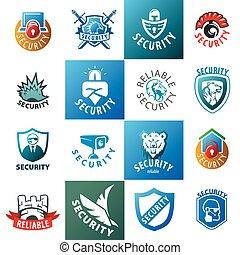 grand, logos, vecteur, ensemble, protection
