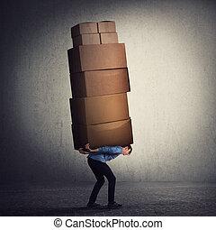 grand, lot, paquet, difficile, tâches, penchant, back., livraison, avant, emballage, ouvrier, holidays., type, courrier, bas, sien, en mouvement, quotidiennement, noël, surchargé, burden., boîtes, lourd, concept., porter, remplir