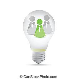 grand, lumière, idée, illustration, collaboration, ampoule