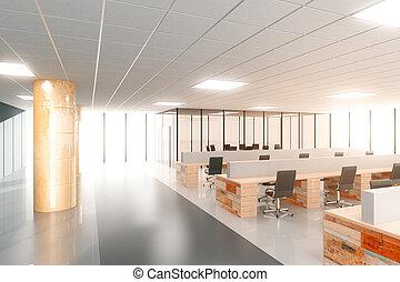 grand, lumière, ouvert, moderne, espace, bureau