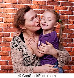 grand-mère, à, elle, grande fille