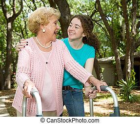 grand-mère, adolescent, rire, &