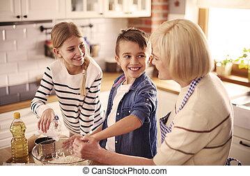 grand-mère, amusement, beaucoup, ainsi, cuisine