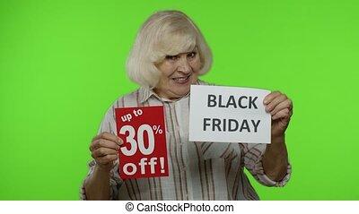 grand-mère, annonce, 30, noir, escompte, projection, chroma, personne agee, fermé, vendredi, banners., cent, clã©