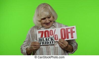 grand-mère, annonce, achats, vendredi, escompte, noir, projection, haut, 70, fermé, coût, cent