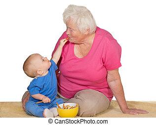 grand-mère, bébé, moment, tendre, entre