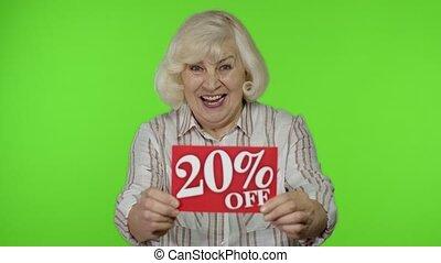 grand-mère, bon, 20, bas, projection, signe, inscription, réjouir, personne agee, fermé, prix, escomptes, cent