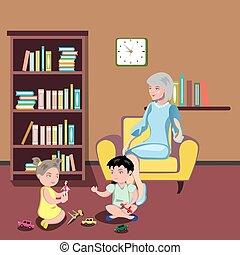 grand-mère, chaise, gosses, séance